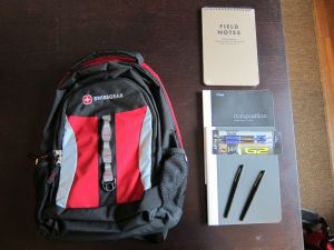 Backpack, notebooks, pens