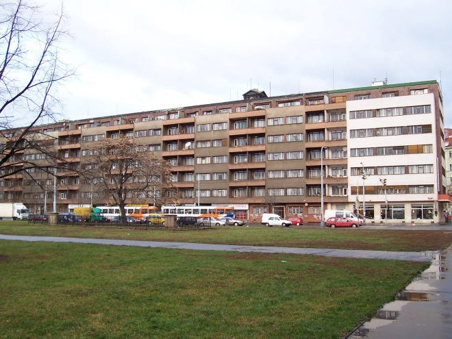 Apartment buildings around Letna Park
