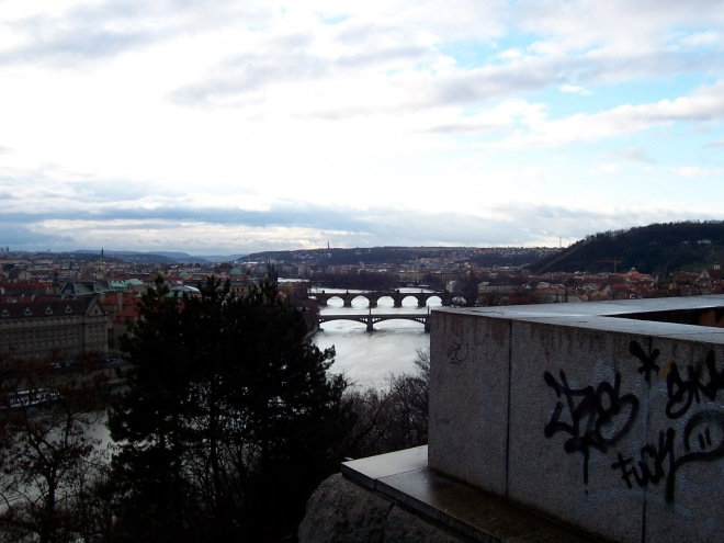 Vltava River and Charles Bridge viewed from a cliff